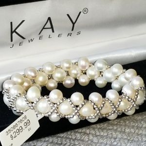 "CULTURED PEARL BRACELET ""NEW""  Sterling Silver KAY"